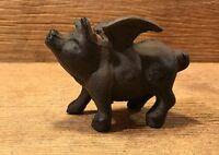 Miniature Flying Pig Cast Iron Figurine Statue Rustic Garden Decor 0184-10006