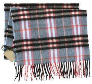 NEW BURBERRY 100% CASHMERE PALE BLUE CHECK SCARF WRAP CURRENT COLLECTION!