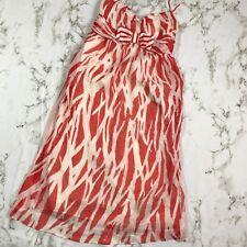 Diane Von Furstenberg 4 Dress 100% Silk Red Orange White Summer Beach Party B41
