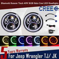 "2pc Cree RGB Halo Ring 7"" 7 Inch Bluetooth APP LED Headlights Jeep Wrangler AP"