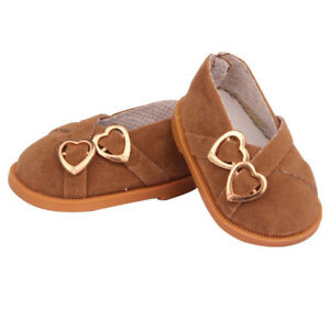 Brown Double Heart Shoes Fits 18 Inch American Girl Dolls-Kennedy and Friends