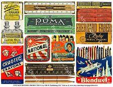 Advertising Labels, Antique Stationary Packaging Office Art, 1 Scrapbook Sheet