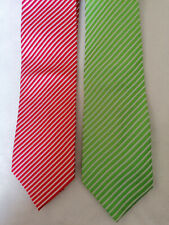 2 Ermenegildo Zegna men's ties (green/white, red/white stripes)