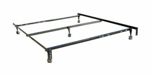 Full Queen Size Adjustable Bed Frame Steel with Roller Wheels and Center Support