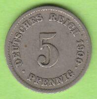 Kaiserreich 5 Pfennig 1900 J sehr schön nswleipzig
