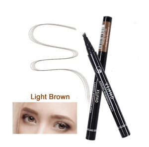 Waterproof 4 Fork Eyebrow Pencil Eye Brow Eyeliner Natural Makeup light Brown