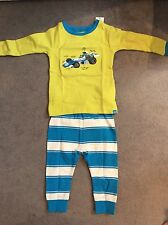 GAP-LONG SLEEVE PYJAMAS WITH RACING CAR ON FRONT & STRIPED TROUSERS- 6-12m BNWT