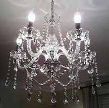 5 Arms Chandelier Crystal Glass Ceiling Light E12 Pendant Lamp Transparent Color