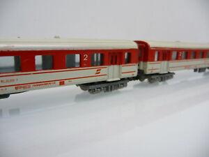 2x Schlierenwagen 2. Klasse rot/weiß der ÖBB Ep. IV Lima N 1:160 ohne OVP