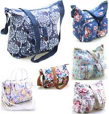 Ladies Floral Oilcloth, Canvas Handbag Messenger Cross Body Shoulder Bags UK