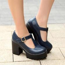 Brogue Womens Chunky Heels Platform Pumps Mary Janes Buckle T-Bar dress Shoes #