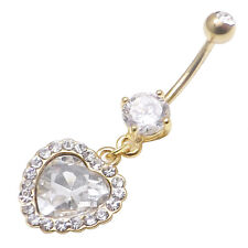 14KT Gold plated surgical steel belly bar with heart CZ gems 14g 1.6mm x 10mm