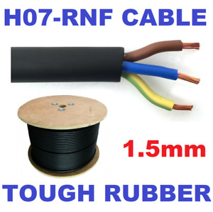 25m Metre 1.5mm 3 Core H07RN-F HO7RNF Outdoor Tough Rubber Cable Wire Lighting