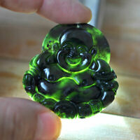 Chinese Natural Black Green Jade Pendant Buddha Good Lucky Amulet Gift Antiques