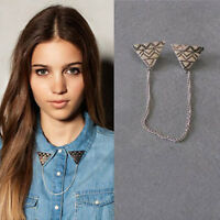 Hot Fashion Clothes Collar Clip Ancient Silver Chain Brooch Pins Accessories