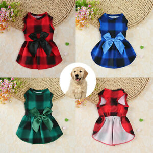 Christmas Plaid Pet Clothes Small Dog Cat Dress Bow Tie Fancy Skirt Costume ^