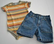 Baby Boys Sz 6 12m JANIE & JACK Out West Striped One Piece Denim Shorts Outfit