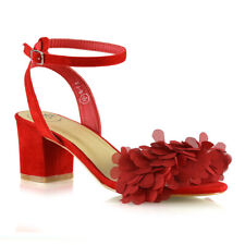 Womens Ankle Strap Low Block Heel Sandals Ladies Fringe Party Shoes Size 3-8