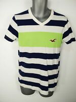 MENS HOLLISTER WHITE STRIPED V NECK SHORT SLEEVE COTTON SHIRT TOP TSHIRT SMALL S