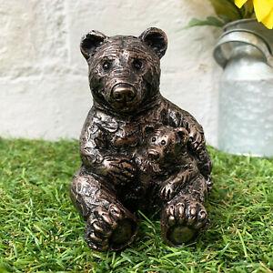 Miniature Garden Ornament Animal Figurine Bronze Effect Cute Outback Bear & Cub