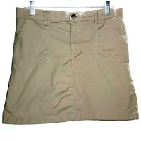 Croft & Barrow Womens Skort Size 12 Tan Khaki Zipper Pockets Stretchy Waistband