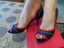 New Kate Spade Saranne Black Mutli Mid Heel Size 5M