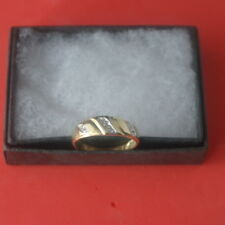 BEAUTIFUL 9CT SOLID YELLOW GOLD WITH 7 DIAMONDS RING SIZE N12 IN GIFT BOX