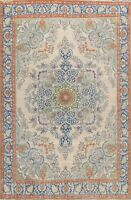 Floral Semi-Antique Tebriz Ivory Traditional Hand-knotted Area Rug Wool 10x13 ft