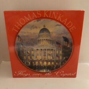 Thomas Kinkade Flags Over The Capitol 750 Piece Round Jigsaw Puzzle NEW
