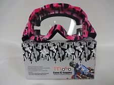 MOTO ADULTS X2 CAMO PINK MOTOCROSS ATV ENDURO QUAD BIKE OFF ROAD TRCK GOGGLE