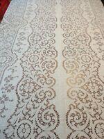 "Vtg Scranton Lace off white Cotton Tablecloth Floral 144"" x58"" Repair or Cutter"