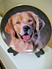 "Danbury Mint Cherish Golden Retrievers Collector Plate Entitled ""Eyes Of Love"""