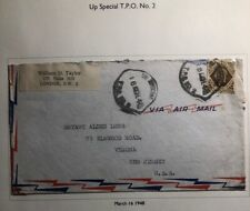1948 Up Special London England Cover Traveling Post Office To Verona Usa