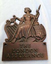 **RARE THE LONDON ASSURANCE Bronze Name Plaque Plate Emblem