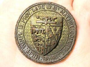 Antique Resin Pictorial MASONIC Lancashire Knights Templar SEAL Impression #ES26