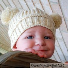 BonEful RTS NEW Boutique Crochet Knit Cream Off White Natural Sm WINTER Baby HAT