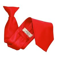 DQT Satin Plain Solid Red Waiter Security Funeral Clip On Tie