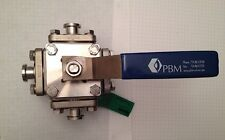 "PBM 3-Way Ball Valve, 316 Stainless, ½"" Sanitary Fitting, 900 Psi, Series 4, New"