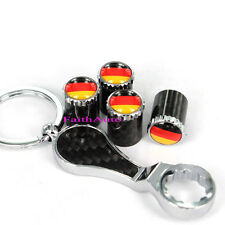 Germany Flag Carbon Fiber Metal Wrench Keychain Tire Valve Stem Caps For A4 A6