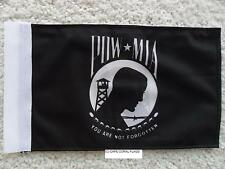 "6""X9"" AMERICAN POW MIA FLAG DOUBLE SIDED KNIT NYLON WITH SLEEVE MOTORCYCLE /CAR"