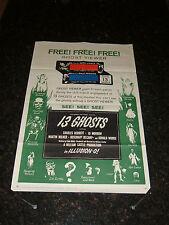 """13 GHOSTS Original 1960 Movie Poster, 27"""" x 41"""", C6.5 Fine Plus Condition"""
