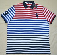 New Large L POLO RALPH LAUREN Mens Big Pony Shirt red white top Classic fit Polo