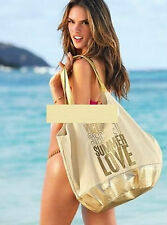 Victoria's Secret Canvas Gold metallic  SUMMER LOVE BEACH tote bag