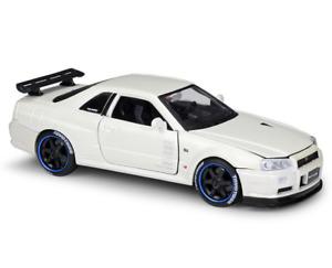 Maisto 1:24 NISSAN SKYLINE R34 GT-R Diecast Model Racing Car White NEW IN BOX