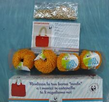 Kit borsa fatto a mano hobby aguglieria  GOMITOLI cotone lana filati Col ARANCIO