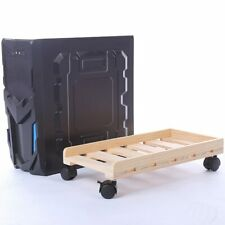 Durable Wooden PC Case Desktop CPU Stand Holder Computer Tower Rolling Wheels