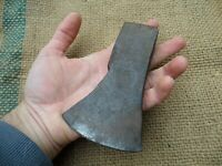 SMALL VINTAGE ANTIQUE AXE HAND FORGED IRON HEAD WOOD CARVING WOODWORKING HATCHET