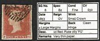 """1053 SG8 1d Red. Plate 163 """"FG"""" 1853. 4 Large Margins Fine. Spec B2. c£50"""