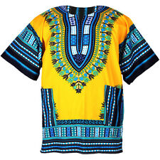 Cotton African Dashiki Mexican Poncho Hippie Tribal Shirt Blouse Yellow ad033y