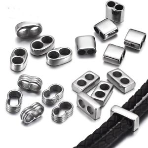 10pcs Double Hole Beads Leather Bracelet Two Hole Spacers Metal Bead DIY Jewelry